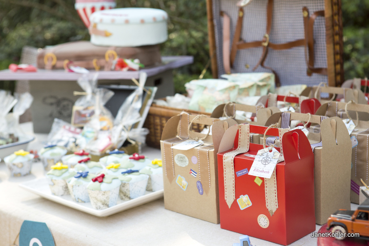 Vintage travel themed party decor