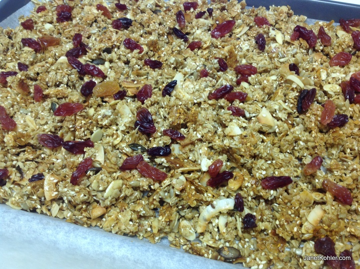 Trays of delicious home-baked granola