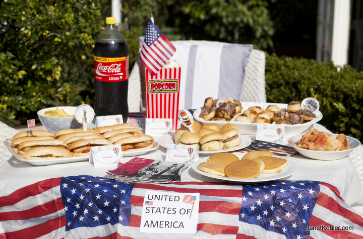 Typical American party food